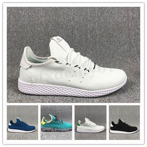 Adidas Tennis HU 2018 Nouveau Pharrell Williams X Stan Smith DE TENNIS HU Primeknit Hommes Femmes Chaussures de course Blanc Vert Respirant Maille Sport Taille 36-45 WW03