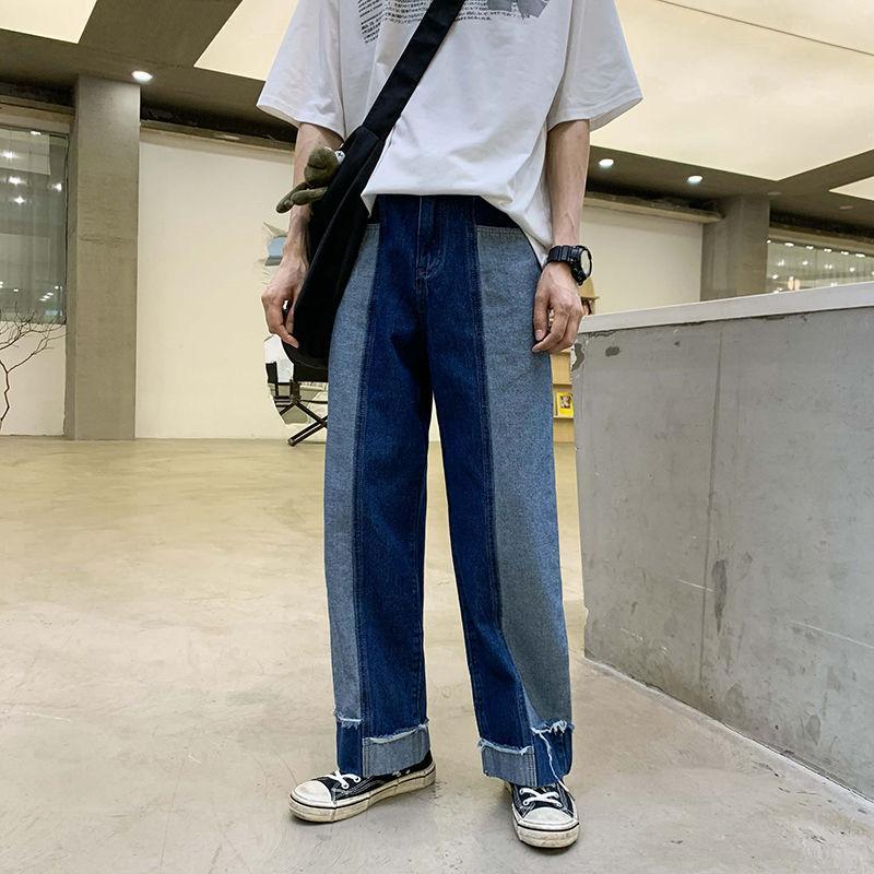 2020 İlkbahar Ve Yaz Yeni Gençlik Popüler Erkekler Gevşek Kontrast Renk Dikiş Jeans Moda Günlük Yüksek Bel Düz Pantolon
