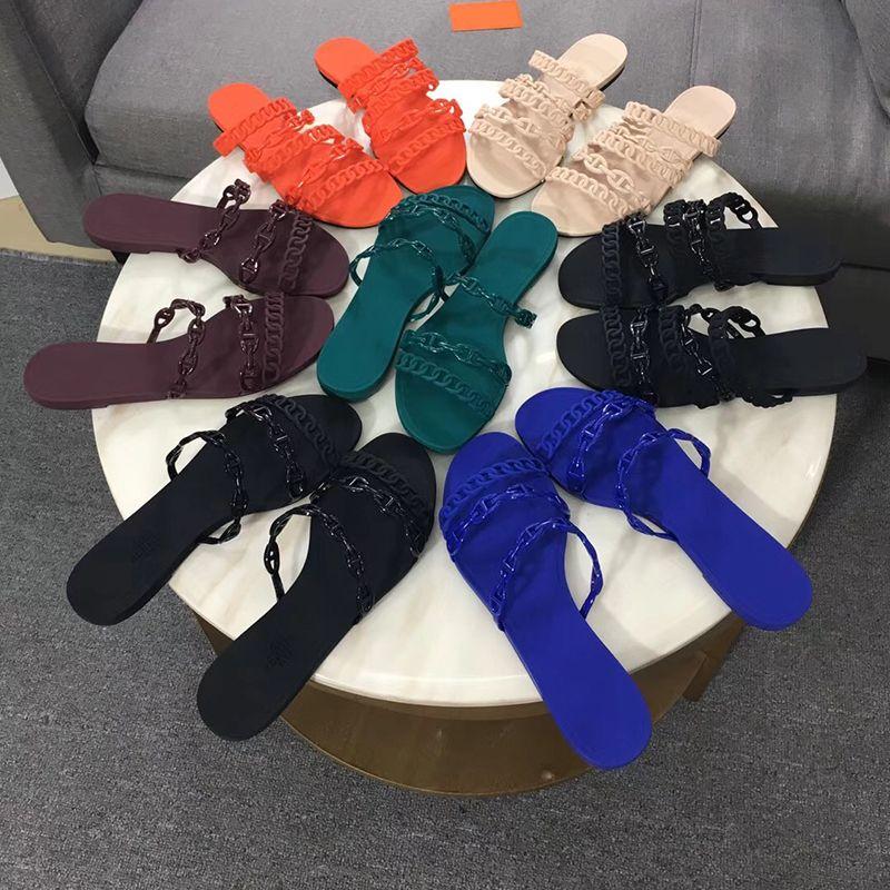 2021 Modedesigner Sandalen mit Chaine d'Ancre Frauen Sandalen Rutschen Flache Flip Flops Hausschuhe Party Hochzeit Sandalen mit Box US 11