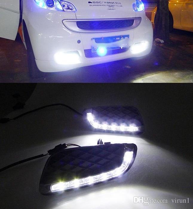 2 Pcs LED DRL Luzes Diurnas de Nevoeiro lâmpada tampa Para Mercedes Benz Smart fortwo 2008 2009 2010 2011 Luz Do Dia