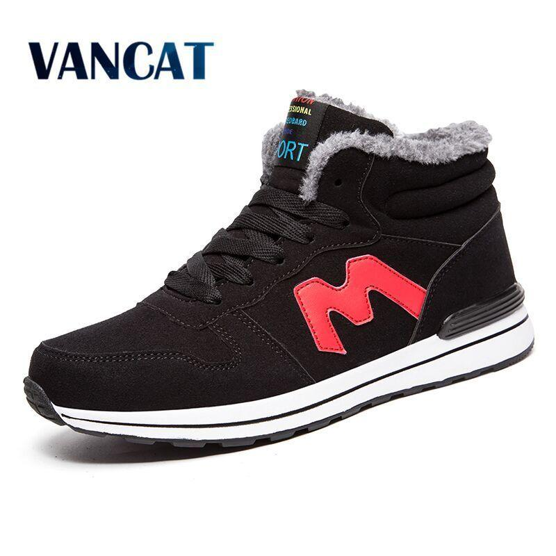 VANCAT Winter With Fur Men Boots Warm Snow Boots Men Winter Sneakers Boots Work Shoes Men Footwear Rubber Ankle Shoes 39-46