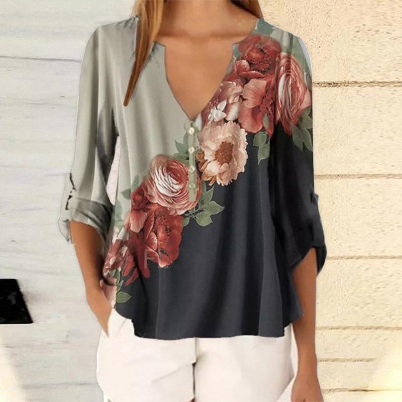 Лето Цветочные печати Женщины Блуза 5XL Плюс Размер Блузы Половина рукава рубашки Пляж ДЕЛОПРОИЗВОДСТВО Рубашки Blusas Feminina Top