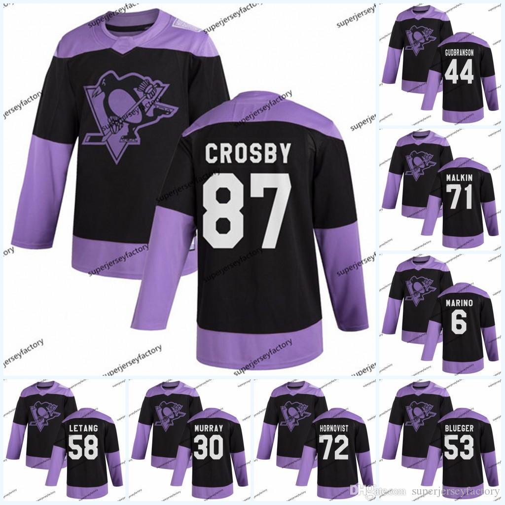 87 Sidney Crosby Pittsburgh Penguins combatte il cancro Practice Jersey Kris Letang Sidney Jake Guentzel Evgeni Malkin Patric Hornqvist Blueger