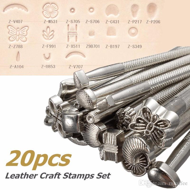 20 adet DIY Alaşım Metal Deri Çalışma Eyer Yapımı Araçlar Set Oyma Deri El Sanatları Pullar Set Leathercraft Staming Katı Metal