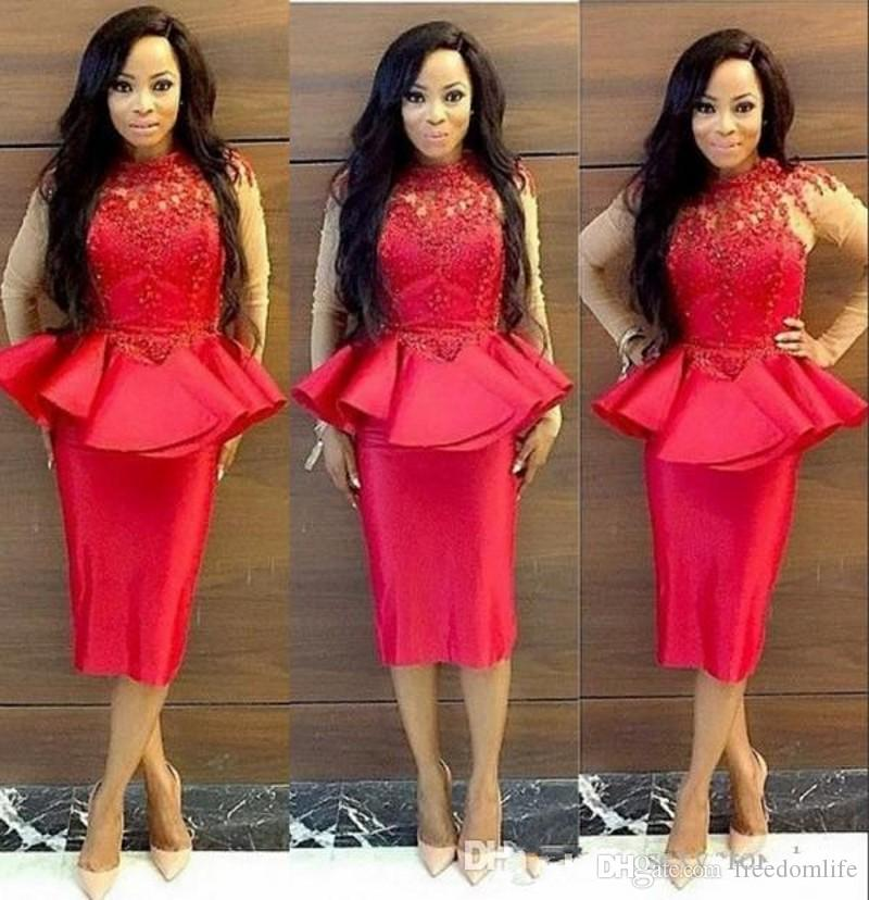 Red Cocktail Dresses Lace Applique Prom Dress With Peplum High Neck Sheer Long Sleeve Evening Gowns Plus Size Women Sheath Formal Wear