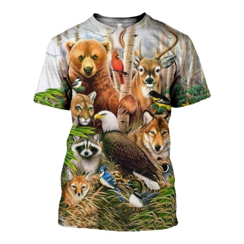 perezosos animales / mono / ciervos 3D Impreso los hombres camiseta de manga corta de Harajuku Fashion calle camisa del verano de las tapas de la camiseta unisex ocasionales
