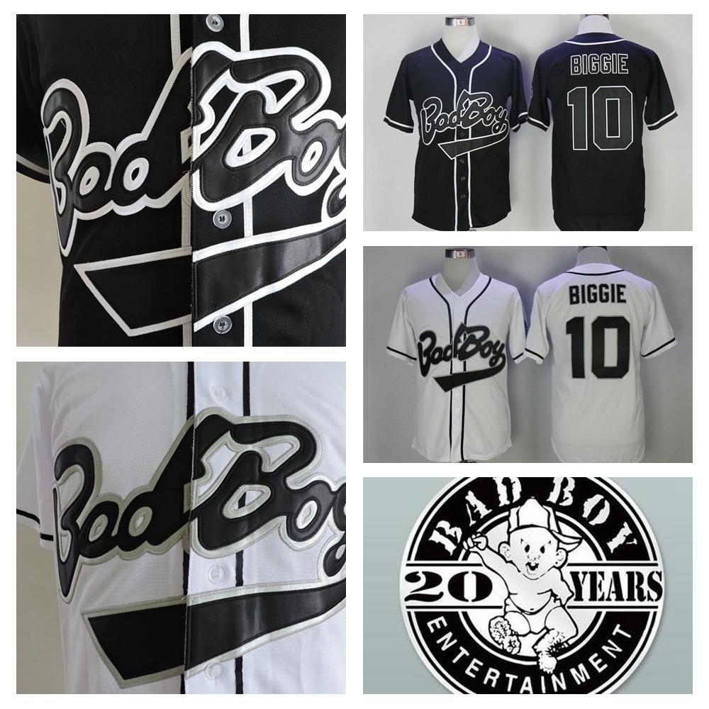 Nueva Biggie Smalls 10 Bad Boy Negro Baseball Jersey barato blanco Badboy Biggie Smalls jerseys cosido 20 Patch