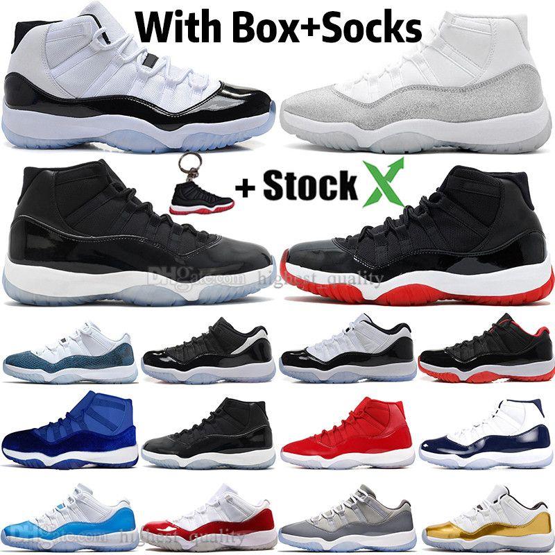 جديد WMNS فضي معدني 11 11S العليا كونكورد 45 الفضاء المربى الرجال أحذية كرة السلة ولدت النساء غاما الأزرق بارونات الرجال الرياضة أحذية رياضية المدربين