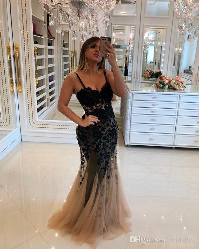 Black Spaghetti Straps Evening Dresses Lace Appliques Mermaid Champage Tulle Formal Occasion Prom Party Gown Custom Made Hot Sale