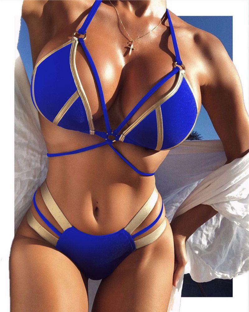 Ouro-carimbado Biquíni Sexy Natação Ternos de Três Pontos Explosivo Maiô Dividir Senhoras Costura Esportes swimwear maiô flexível