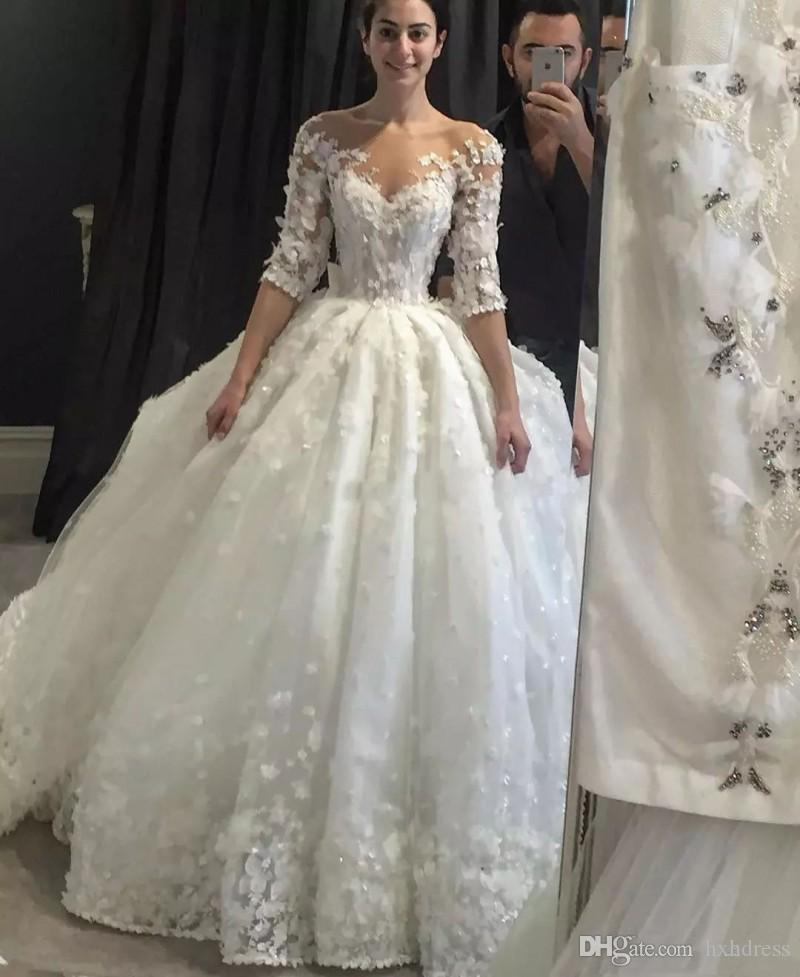New Luxury Bling Lace Ball Gown Wedding Dresses Sheer Neck Chapel