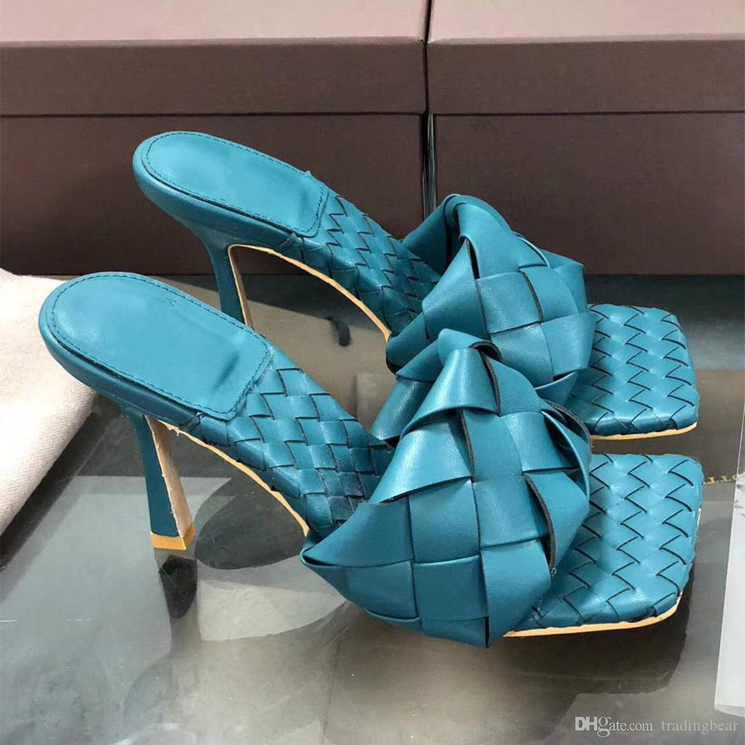 Italian vintage blue squared toe woven insole lido sandals designer high heels slides online boutique tradingbear size 35 to 42