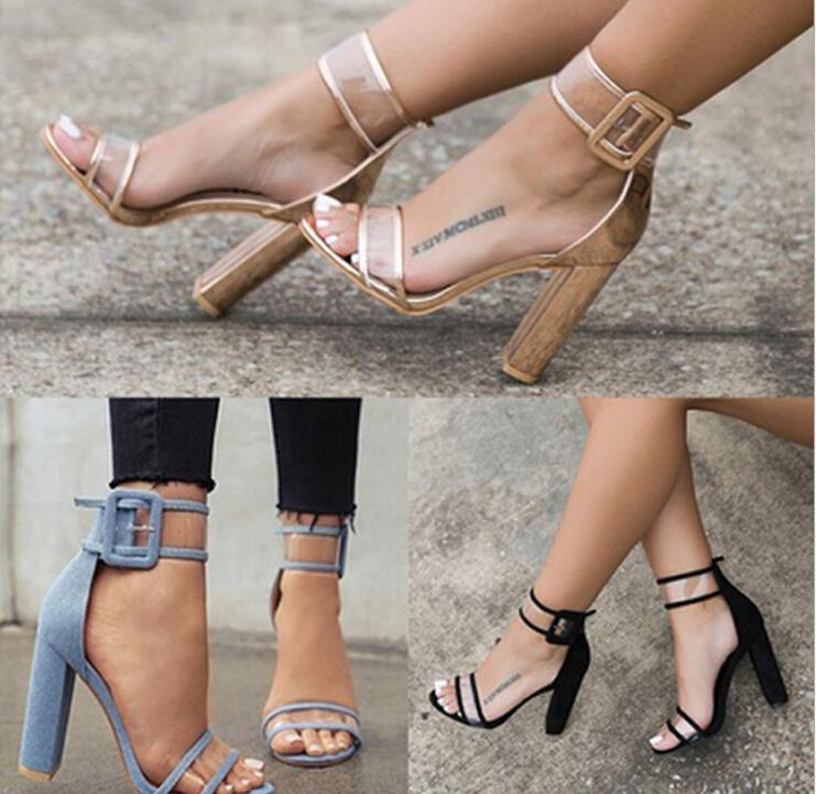 Rough with open toe sandals Europe & US explosion models 2019 new hollow buckle high heel women s sandals Shoes