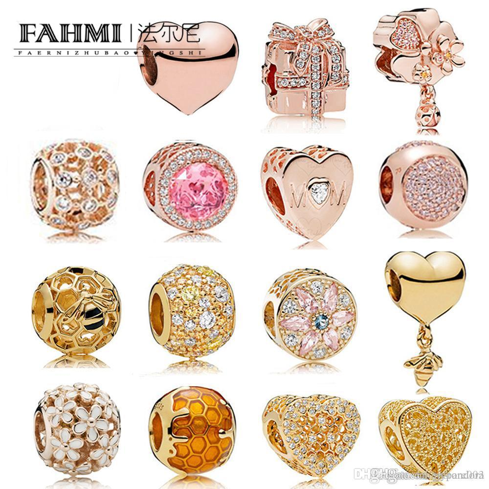 Fahmi 925 Sterlingsilber-Charme Opulent Mehrfarbige Kristalle CZ HERZ UND SHINE BIENENWABE PAVÉ BALL GOLDEN voller Romantik