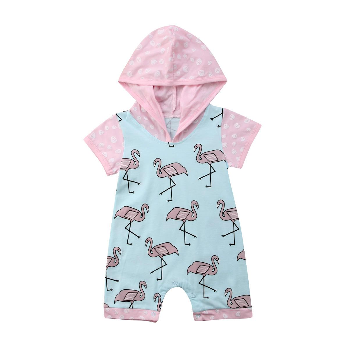 Mädchen-Spielanzug-weiche Baumwollsäuglingsbaby-Short Sleeve Light Blue Body Outfit Netter mit Kapuze Overall Pyjamas 0-18M