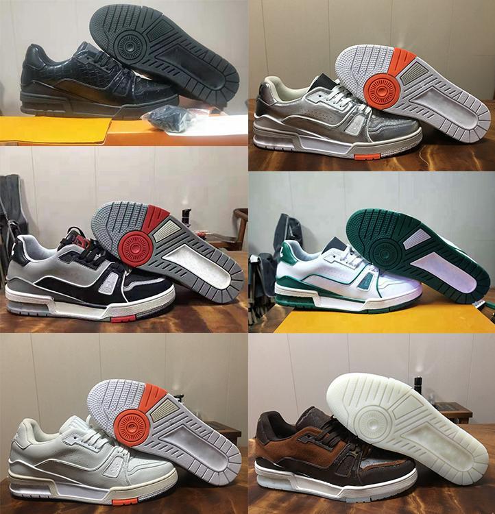 2020 nouvel entraîneur de basket-ball Intage baskets Virgil blanc Abloh alligator-relief noir vert gris en cuir veau Designer Shoes Français