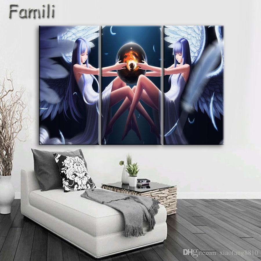 3Pcs/set large HD printed oil painting Angel Girl canvas print art home decor idea wall art pictures for living room
