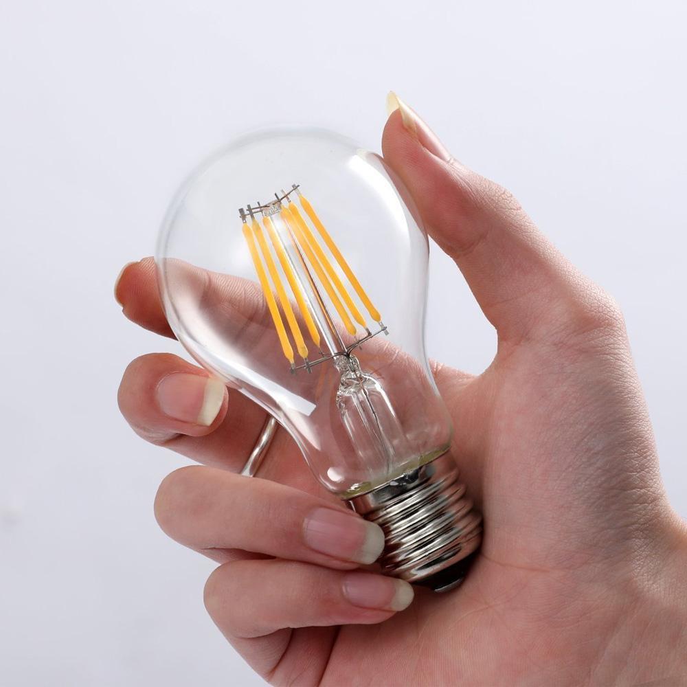 Dimmable A60 Retro Edison LED Filament Light Bulb E27 COB Glass Bulb Filament AC220V for White Chandelier Crystal Lamp