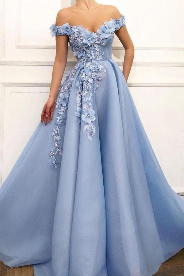 Azul lindo bebê Prom Dresses A Linha Alças Corpo Inteiro Vestidos Longo formal com frisada Flores Plus Size Árabe Prom Vestido