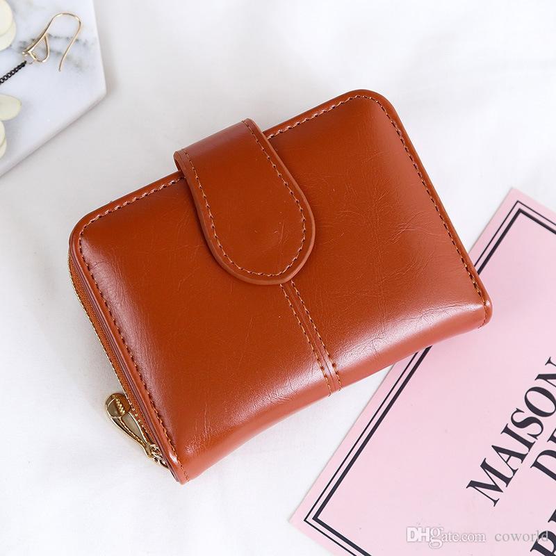 محفظة للنساء سيدة صغيرة قصيرة بيفولد جلد المحفظة متعددة الأغراض مع نافذة معرف