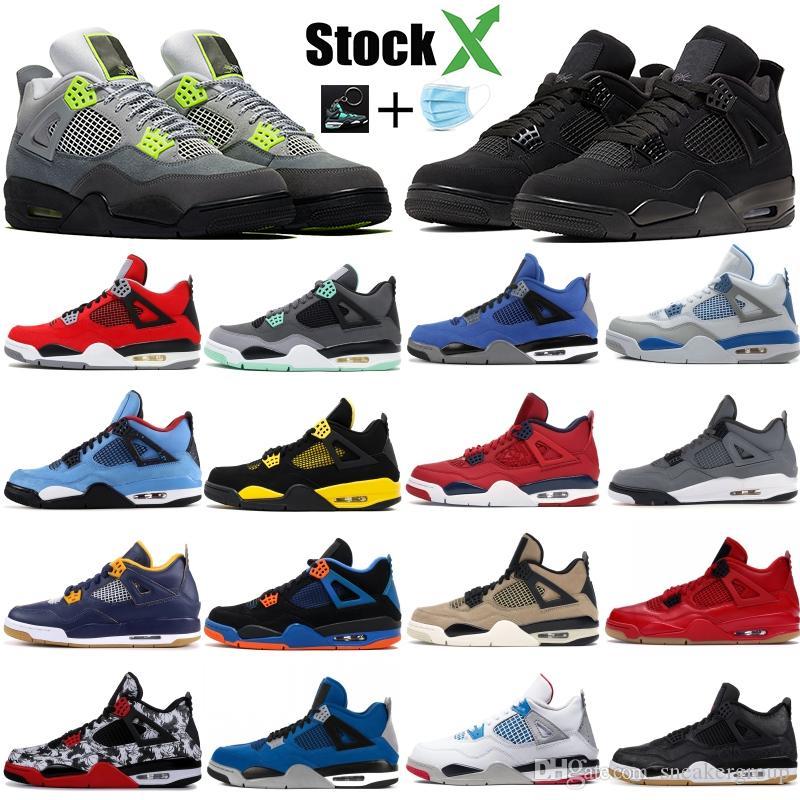 Top Nike Air Jordan Retro 4 4s Uomo Scarpe da pallacanestro New White Laser Black Cat Thunder Blu militare 2019 Scarpe da donna Sneakers sportive Taglia 7-13