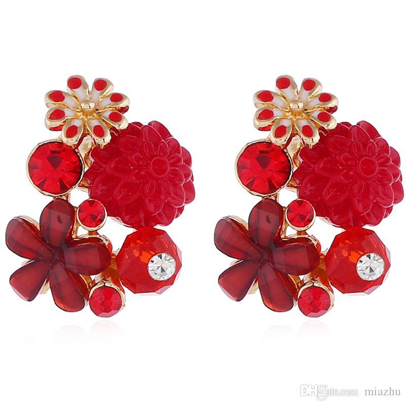 Hediye Için Femal Sevimli Çiçek Kulak Damızlık Kristal Küpe Fashional Kulak Sarkık Gül Çiçek Kulak Damızlık Düğün Parti Için Çeşitli Renkler dekorasyon
