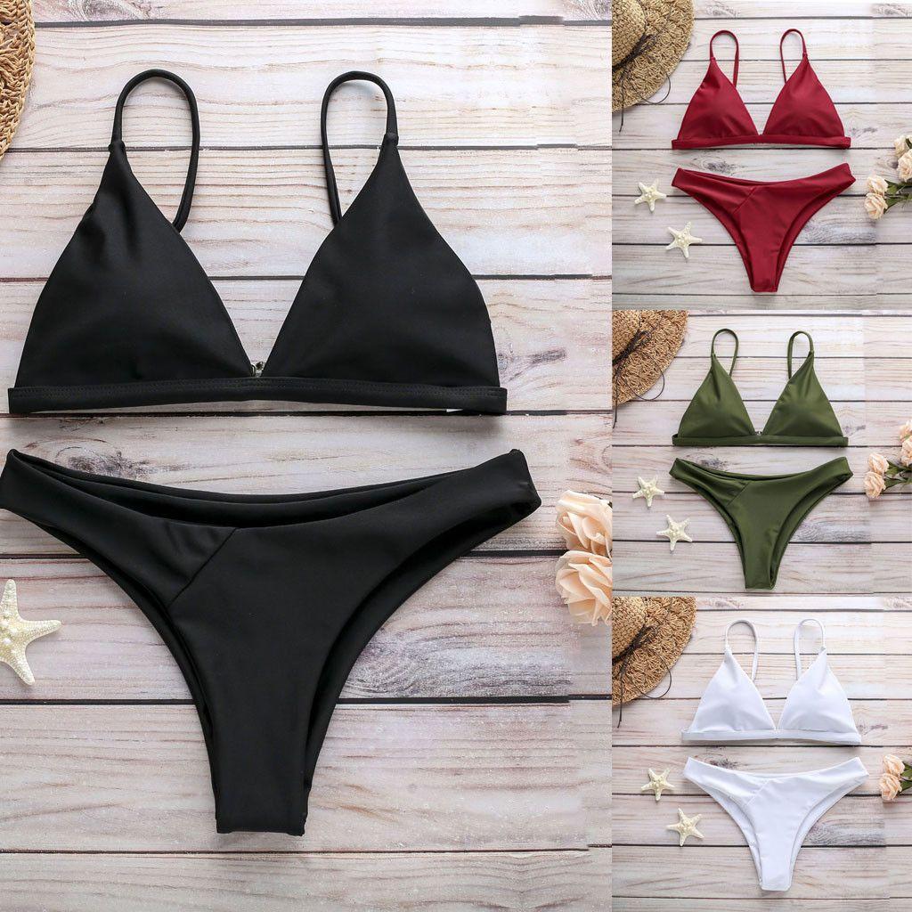 Biquíni 2019 Sexy Mulheres Sólidos Bikini Push-Up Pad Swimwear Trajes de Banho Set Acolchoado Monikini Terno Biquini Mujer