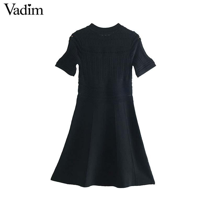 Vadim женщины элегантный вязаные выдалбливают мини-платье O шеи короткий рукав платья женские шикарные платья Платье QC053