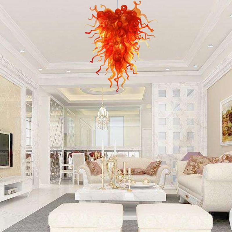 Orange Glass Chandelier Lighting 110-240V LED Pendant Light Hand Blown Glass Hanging Chandelier Lights for Stair Dining Room Home Decoration