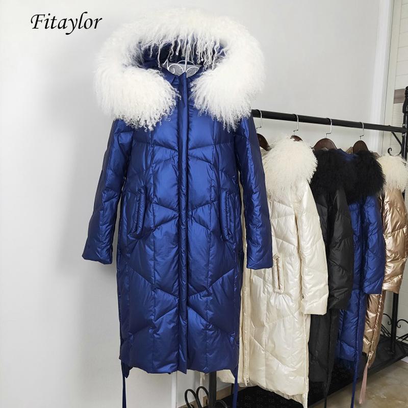 Fitaylor las mujeres del invierno con capucha de pato blanca grande Parka cuello de la piel natural hacia abajo chaquetas largas Hembra ocasional prendas de vestir exteriores gruesa de nieve