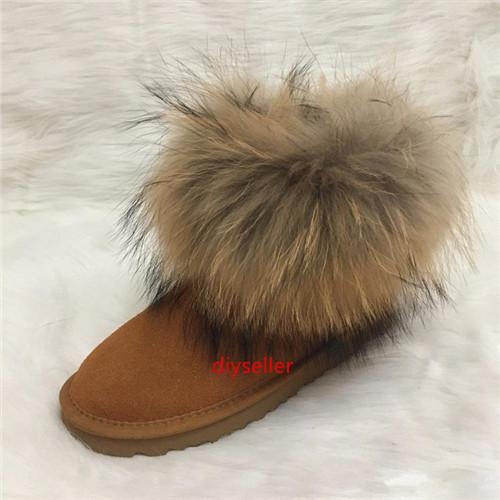 Australian-Art-Frauen-Schnee-Aufladungen Faux-Pelz-Winter Lederstiefel Frauen High-Quality Ankle Boot Mode Frau Luxus-Designer-Schuhe Marke IV