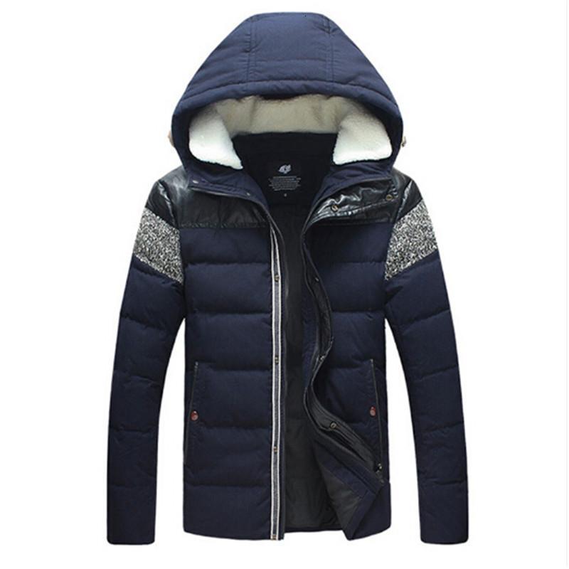 2019 pato blanco abajo chaqueta de los hombres de Winte Grueso Y con capucha de lana de cuello del remiendo caliente de cuero de la PU de los nuevos hombres de las chaquetas de las capas 5XL SH190930