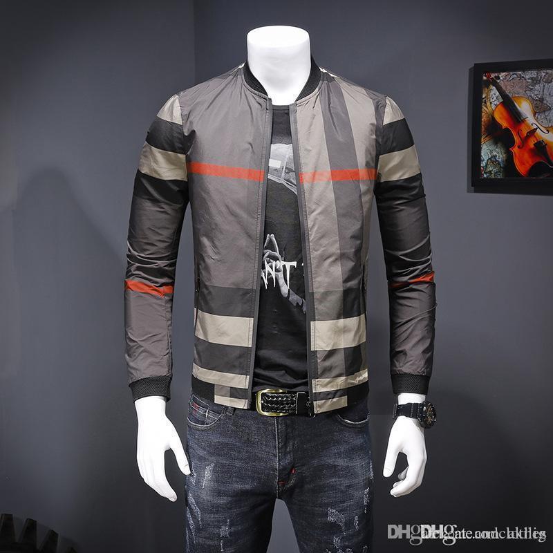 2019 Nova Primavera Outono Jacket Casual Masculino Vestuário Zipper xadrez gola impresso Magro Mens jaquetas desenhador dos homens do desenhista