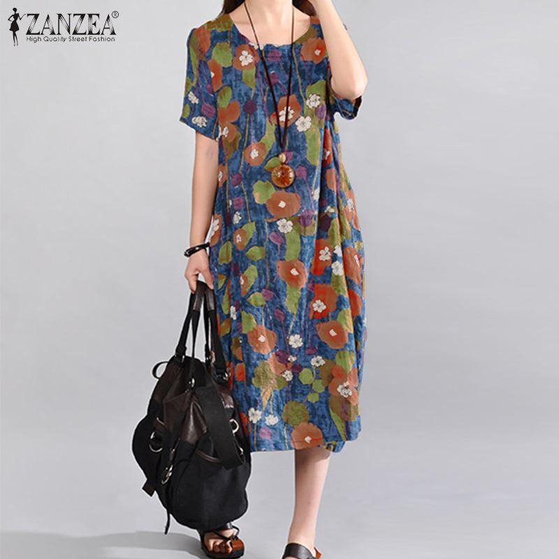 ZANZEA Vintage Çiçek Baskılı Sundress Kadınlar Yaz Elbise Günlük O Yaka Kısa Kollu Gevşek Midi Vestido Artı boyutu Kaftan Elbise