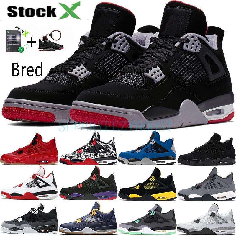 4 Bred 4s chaussures de basket-ball hommes mens laser noir gomme tonnerre redevance tatouage lave chaude rapotors designer baskets IV Pure formateurs d'argent