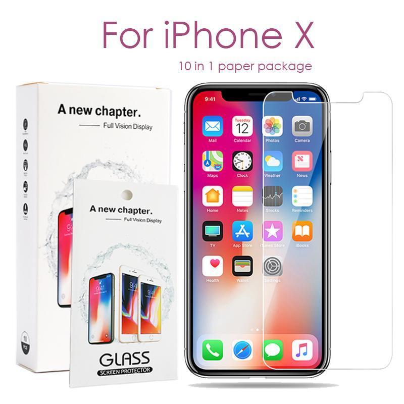 Verre trempé pour iPhone 11 Pro Max X / XS MAX XR 8 7 6S plus écran Samsung J7 Prime S7 J3 Protector 10 dans 1 paquet de papier
