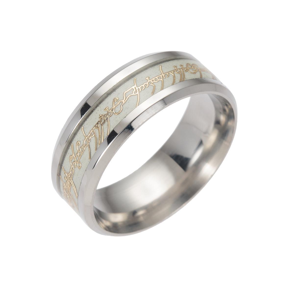 New Fashion Magic Ring en acier inoxydable brillant fluorescent Glowing Bague de fête d'anniversaire Lettre texte bijoux de mariage