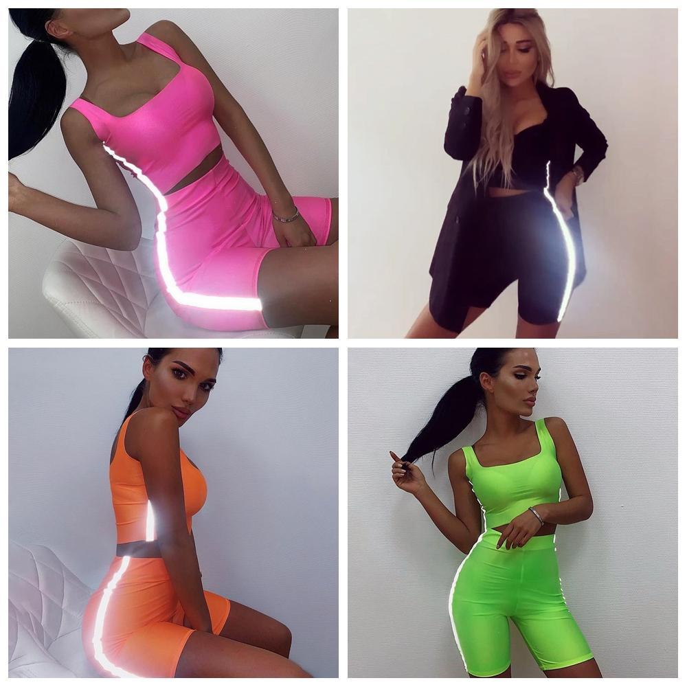 Women Reflective Stripe Outfits sport suit T-shirt Set Tracksuit Tank Crop Top Tight Short 2pcs Slim Sexy jogging Sportswear AAA2109