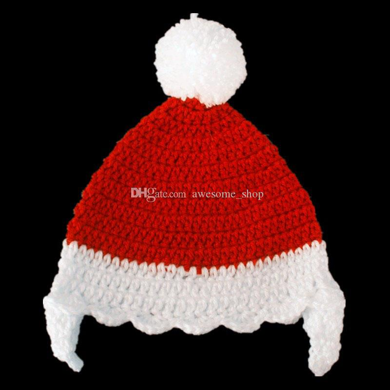 Novelty Santa Elf Hat,Handmade Knit Crochet Baby Boy Girl Christmas Pom Pom Hat,Kids Winter Beanie,Infant Newborn Photo Props
