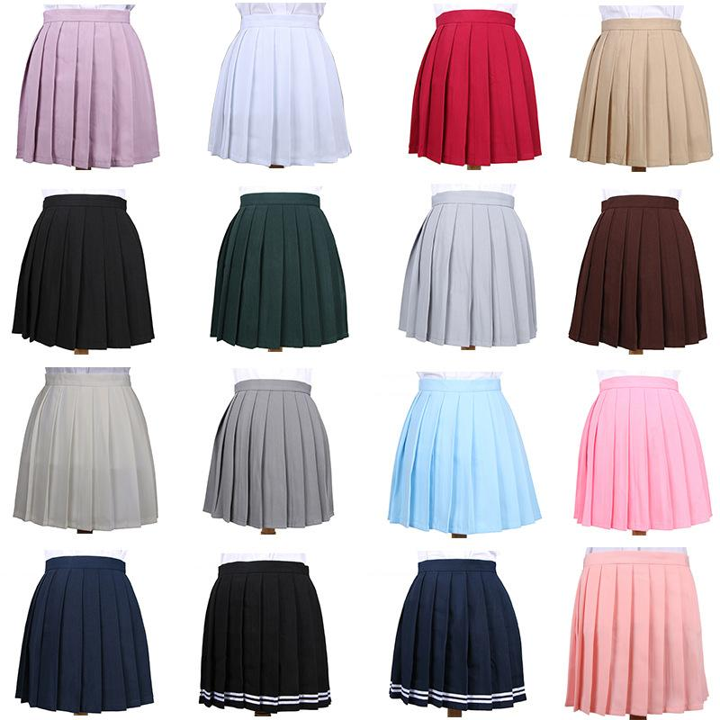 Japanese Pleated Cos Macarons High Waist Skirt Women's Skirts Ladies Kawaii Female Korean Harajuku Clothing For Women