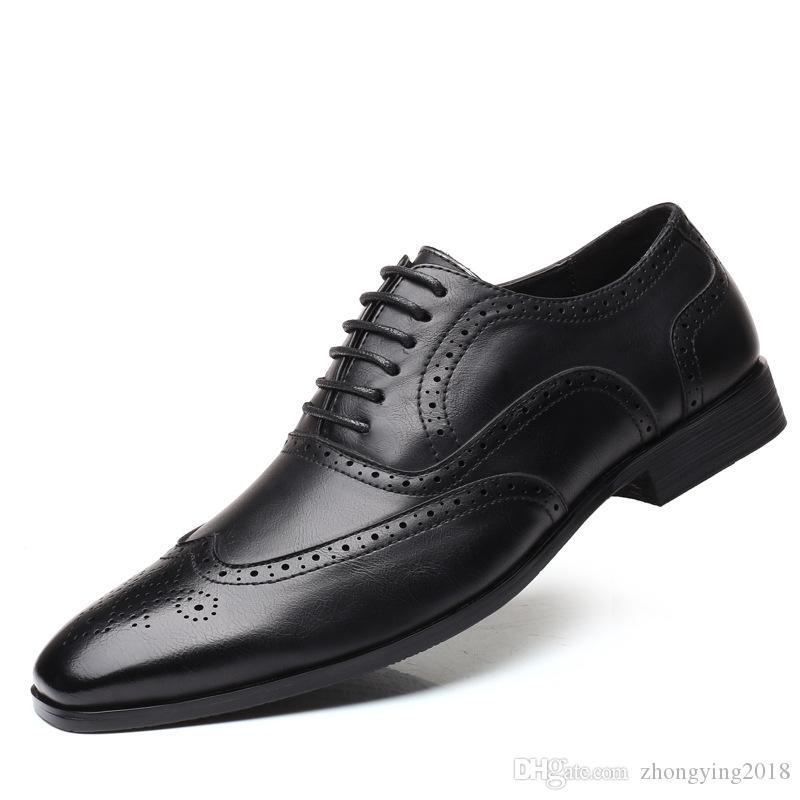 Affaires chaussures hommes occasionnels de voyages d'affaires de grande taille homme chaussures de bout d'aile lacer appartements par avion après la Chine des marchands ambulants oisif zy324