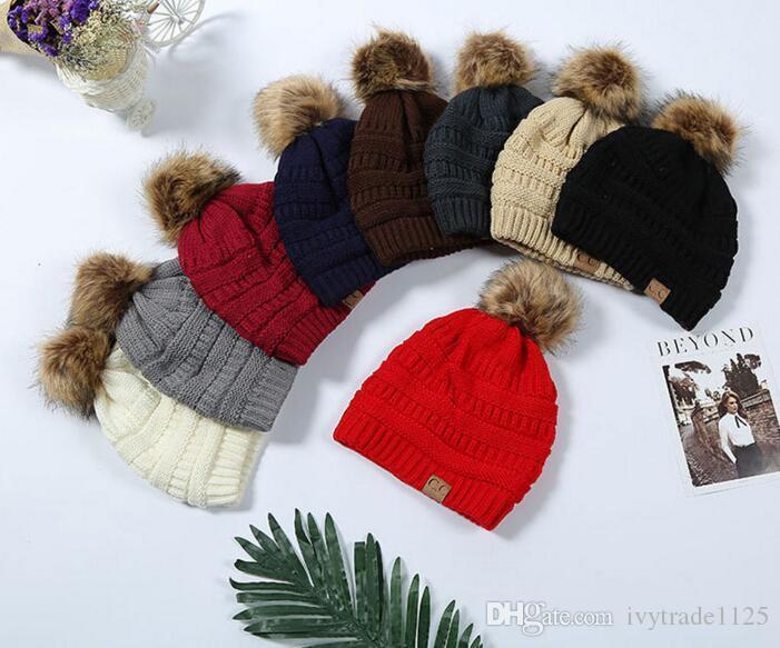 Çok Renkli Ebeveynler Çocuklar CC kapakları Aile Maç Şapka Kidscourful Şapkalar Örme Moda Trendy Beanie Kış Üzeri Chunky Kafatası Soft Caps büyüklüğünde