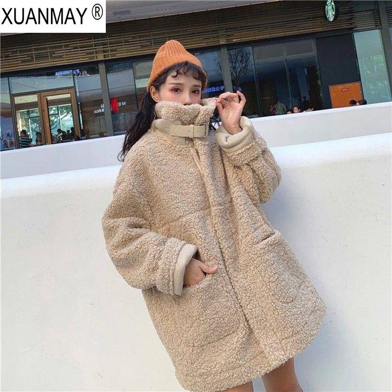 Abrigo de piel de cordero estilo Harajuku imitación de las mujeres de gran tamaño sueltos del invierno cubre la piel de imitación cremallera chaqueta de felpa Escudo SH190930 femenina