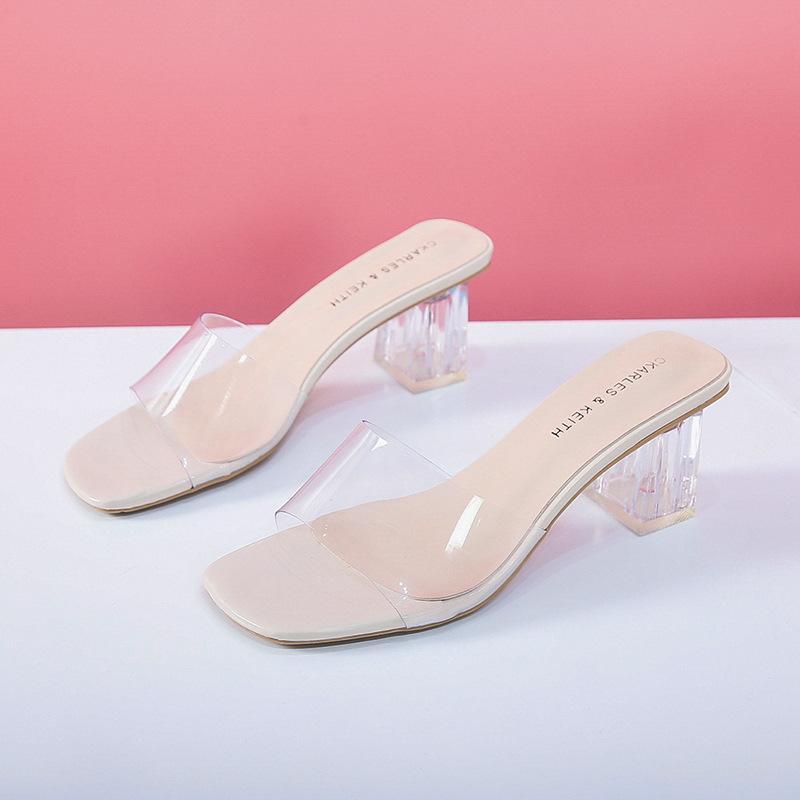 Crystal Clear Transparent Slippers Weibliche Schuhe Middle Heels Komfortable neue Sommer-Frauen Schuh-Frauen-Art und Weise kühlen Mules Slides