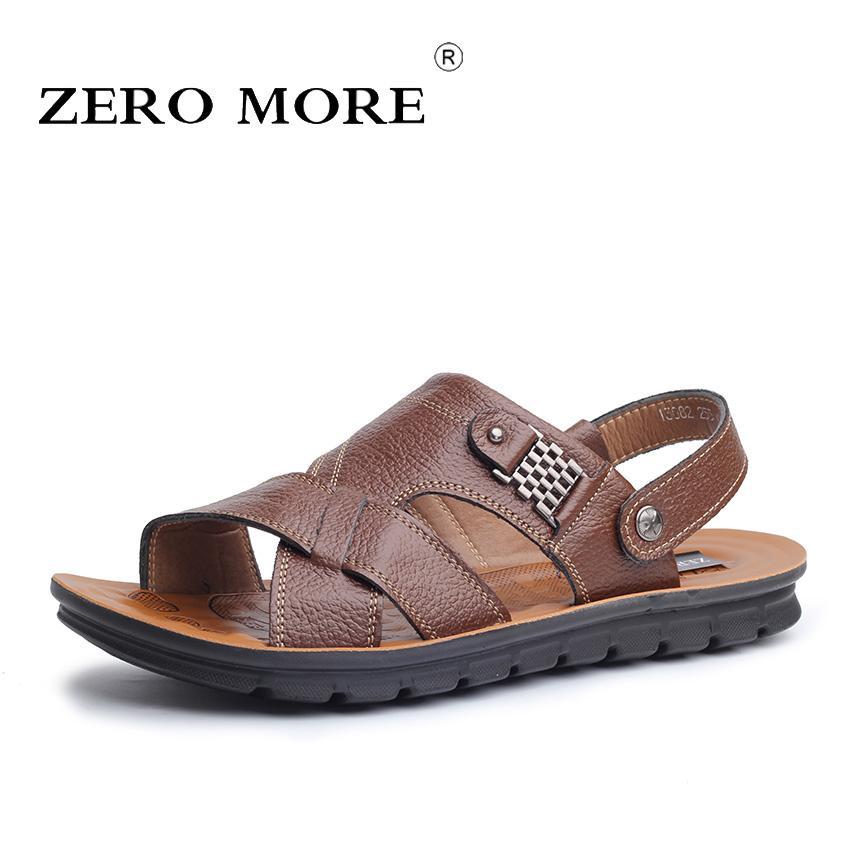 ZERO MORE Mens Shoes Split Leather Designer Sandals Summer Slipper Men Shoes Beach Rome Gladiator Slip Sandals Men Large Sizes