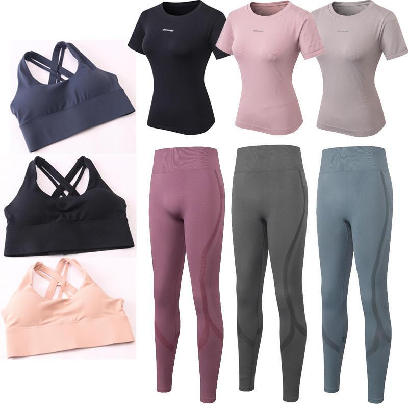 Couleur solide Femmes Pantalon Yoga Soutien-gorge Haute Taille Sports Sports Gym Port Leggings Fitness élastique Dame Globalement Collant plein Collants T-shirt