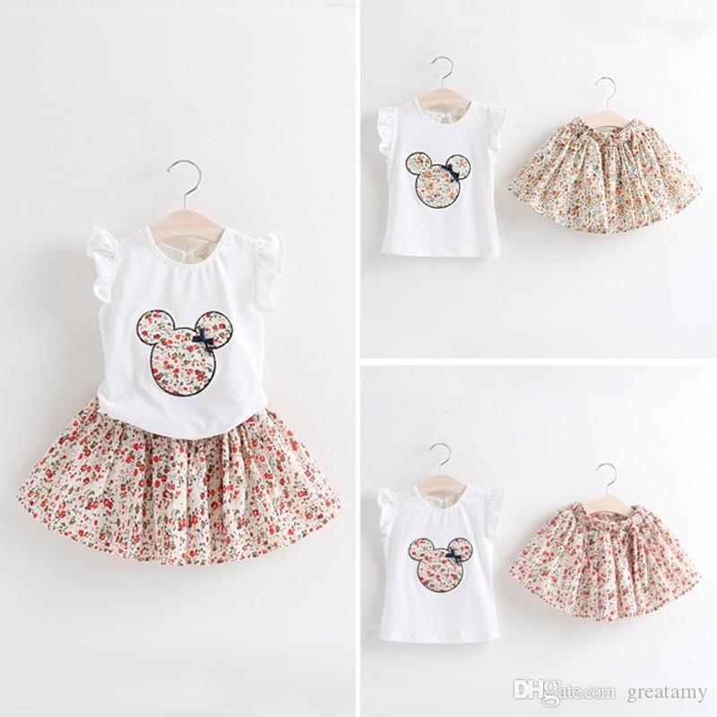 New design Baby Girls Clothing Set Printed Kids Outfits Summer T-shirt+ Floral Skirts 2pcs/set Children Suits