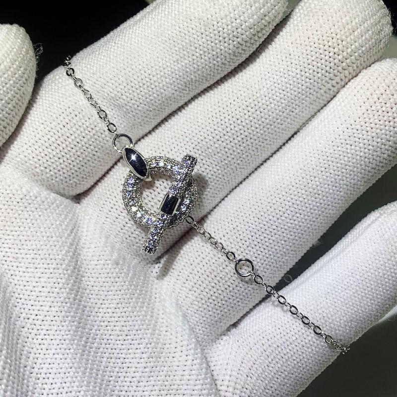 Brandneue einzigartige klassische Schmuck 925 Sterling Silber Pave Weiße Saphir CZ Diamantschwein Nase Party Beliebte Frauen Hochzeit Charme Armband Geschenk