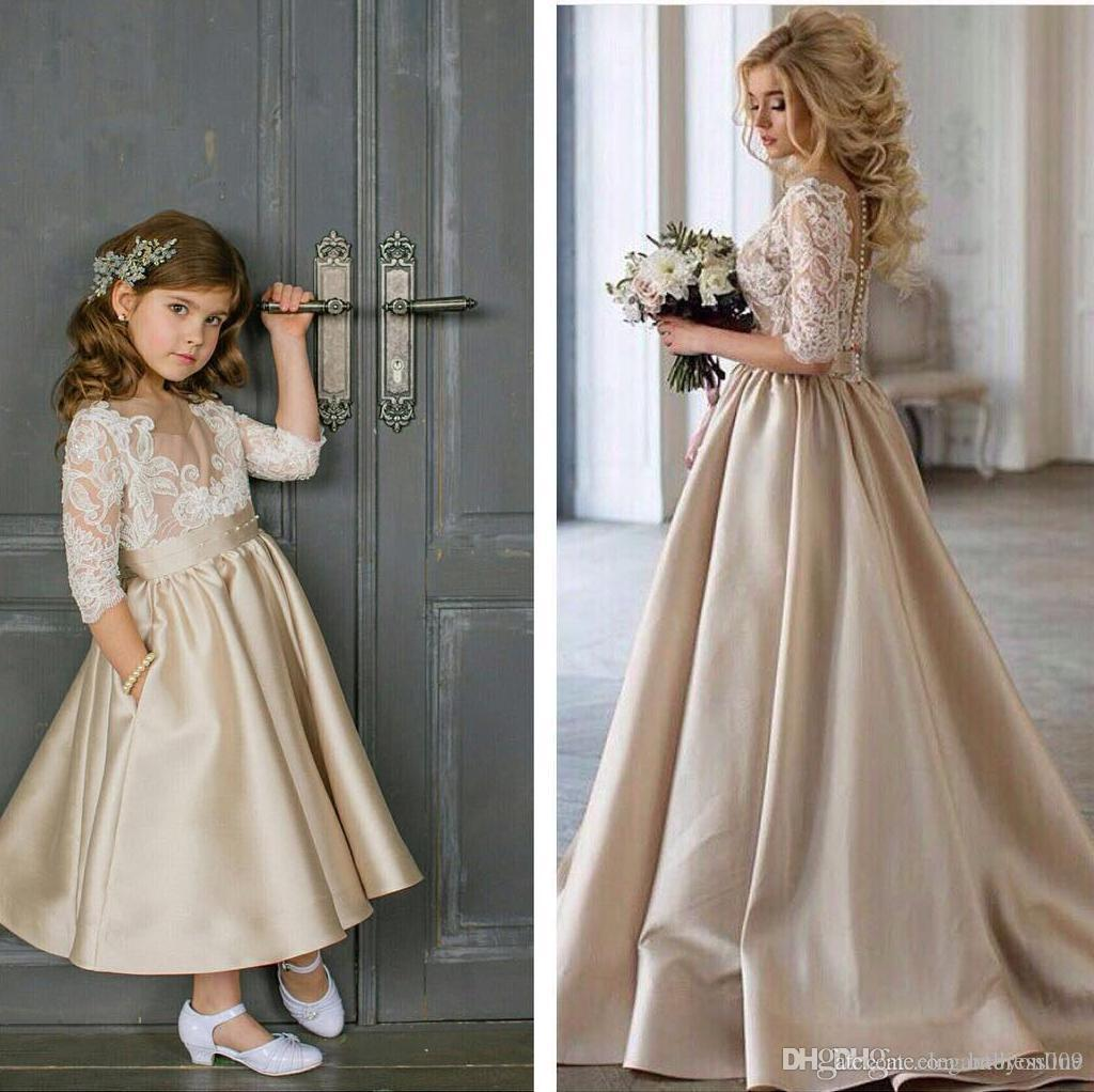 Champagne Cheap Flower Girls Dresses For Wedding 3/4 Long Sleeves Lace Satin Ankle Length Girls Pageant Dresses Kids Prom Party Dress