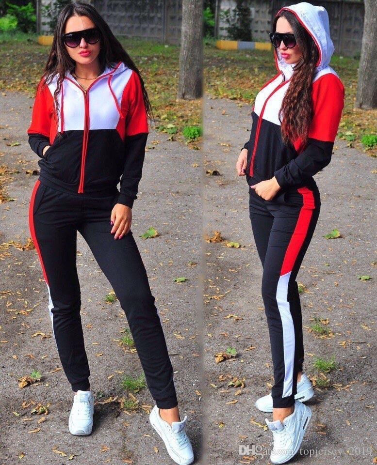 Спортивная одежда для женщин Спортивный костюм с длинным рукавом на молнии с капюшоном Толстовки + брюки Бег Jogger Повседневный фитнес-тренировочный набор Спортивный костюм # 213572